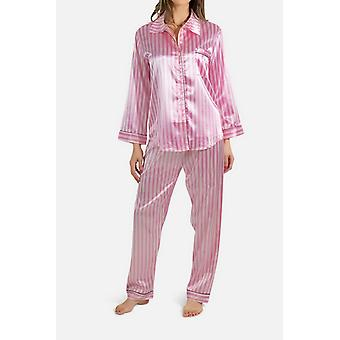 Nestemäinen raidallinen pyjama asetettu suoraan leikattu satiini