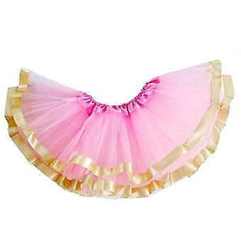 3 Layers Tutu Skirt With Gold Rickrack For Newborn Baby