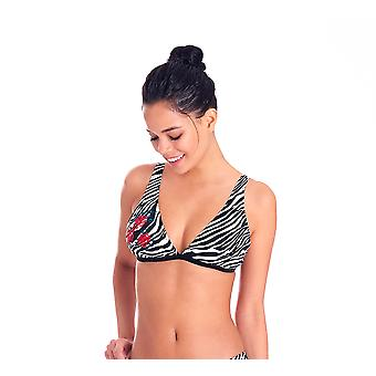 Aqua Perla Womens Ludmila Zebra Drukowane Bikini Top SPF50+