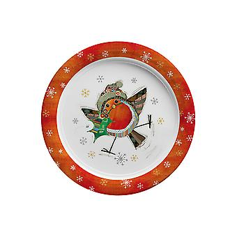 Joe Davies Kooks Xmas Party Plate Robin 9in BG0341