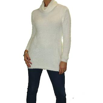 Women's Super Soft Fuzzy Fluffy Knit Warm Stretch Roll Neck Jumper Top Long Sleeve Casual Pullover 10-20 (One Size)