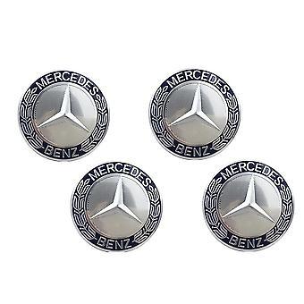 Blue/Silver Mercedes Benz Wheel Center Caps Hub Badges 75mm 4 PCS For A B C E S G CLASS CLA CLS SLK ML AMG