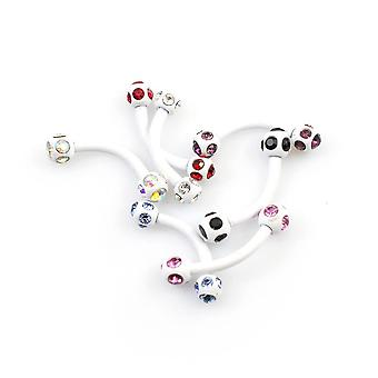 Package of 7 curve barbells with multiple cubic zirconia 16g eyebrow, rook