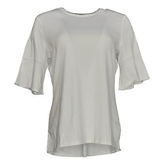 Denim & Co. Women's Top Bell Sleeve W/ Hi-Low Hem White A344487