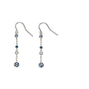 Elementer Silver Sterling Sølv Blå Ombre Crystal af Swarovski® Dangle Øreringe E5549