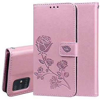 For Galaxy A71 Rose Embossed Horizontal Flip PU Leather Case with Holder & Card Slots & Wallet(Rose Gold)