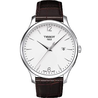Tissot T063.610.16.037.00 Tradition Silver & Brown Croc Leather Men's Watch