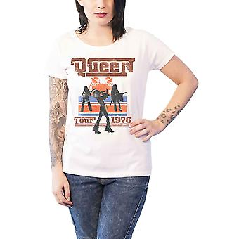 Queen T Shirt 1976 Tour Silhouettes new Official Womens Skinny Fit White
