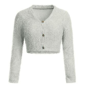 Women V Neck Furry Sweater Fashion Crop Popular Short Sweater
