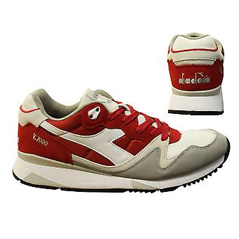Diadora V7000 Nyl II Red Nylon Suede Leather Lace Up Mens Trainers C6649 B*B
