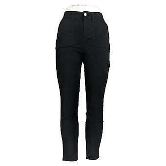 Isaac Mizrahi Live! Kvinner's Jeans Cargo Slim Leg Svart A380449