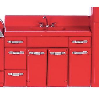 Dolls House Miniatyyri huonekalut 1950-luvun keittiö yksikkö kaksinkertainen pesuallas hana punainen