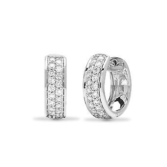 Jewelco Londen dames Solid 18ct witgoud kanaal set ronde G SI1 0.52 Ct Diamond 2 rij Huggie hoepel oorbellen 14mm