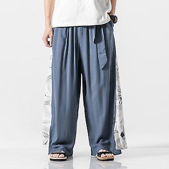 Cotton Linen Wide Leg Pants, Patchwork Vintage Leisure Trousers