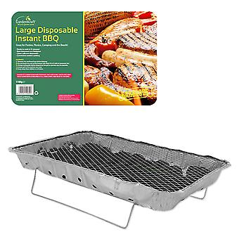 GardenKraft Family Sized Disposable Aluminium Foil Camping BBQ With Stand 1.1KG