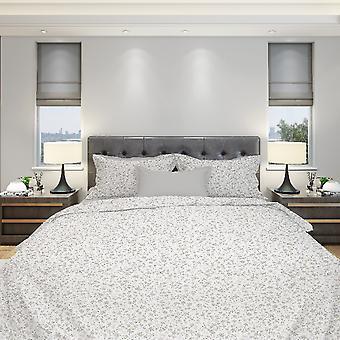Mandy Bed Suit Cor Branca, Cinza Algodão, L150xP280 cm, L90xP195, L50xP80 cm