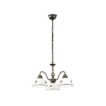Lámpara De Araña De Estilo Acogedor Nonna En Latón Antiguo, 3 Bombillas, Vidrio Mate