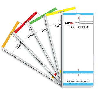 Restaurant Pads / Waiter Order Pads - Single Ply - Multicoloured Pads - 100 Orders per Pad - 100 Pads per Box