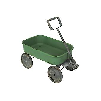 Retro Style Green Flyer Wagon Decorative Planter / Plant Stand 14.75 Inches Long