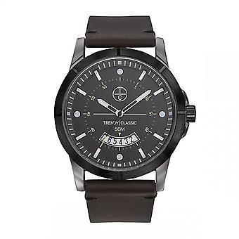 Trendy Classic horloge CB1037-21D-Avenger Dateur Bo tier staal grijs lederen armband bruin grijs wijzerplaat