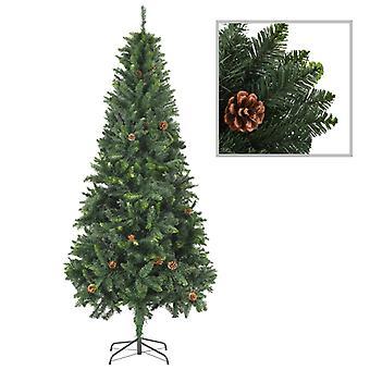 vidaXL شجرة عيد الميلاد الاصطناعي مع مخاريط الصنوبر الأخضر 210 سم