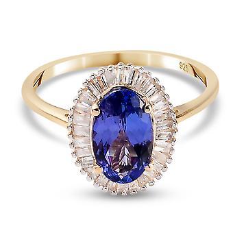 TJC Tanzanite Halo Ring 9K Gelbgold Jahrestagsgeschenk weiß Diamant 1,51ct