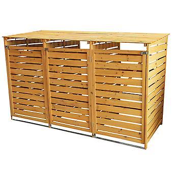 Triple houten Wheelie Bin Store Outdoor Garden Afsluitbare vuilnisbak berging