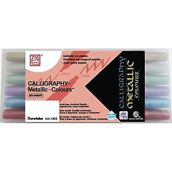 Kuretake Zig Calligraphy Pens - Metallics - Set of 6