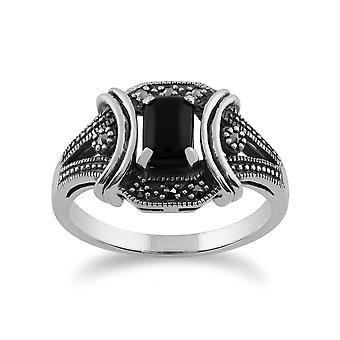 Art Deco Style Black Onyx Cabochon & Marcasite Ring in 925 Sterling Silver 214R586801925