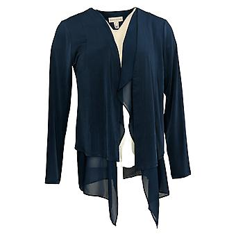 Susan Graver Dames's Liquid Knit Vest met Chiffon Zoom Blauw A387754