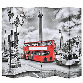 vidaXL غرفة مقسم قابل للطي 228 × 170 سم لندن حافلة أبيض وأسود