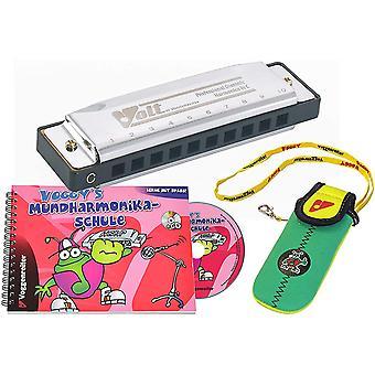 Voggy´s Mundharmonika Set Volt-Mundharmonika C-Dur Neopren-Tasche Mundharmonika-Schule Buch CD