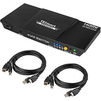 FengChun 2 Port HDMI KVM Switch 4K@60Hz 4:4:4 Ultra HD   2x1 KVM Switcher 2 in 1 Out mit 2 Stck. 1,5