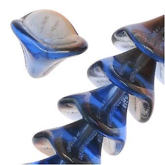 Cuentas de vidrio checas de tres pétalos flor 12mm zafiro azul Celsian (12)