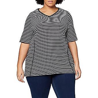 ULLA POPKEN Shirt Doppelpack Uni/Ringel, A-Line, V-Ausschnitt Long Blouse, Schwarz, 54+ Woman