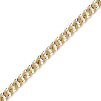 الجويلية لندن Unisex الصلبة 9ct الذهب الأصفر شقة كبح 7mm سلسلة قياس قلادة