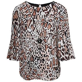 Frank Lyman Bell Sleeve Leopard Print Top