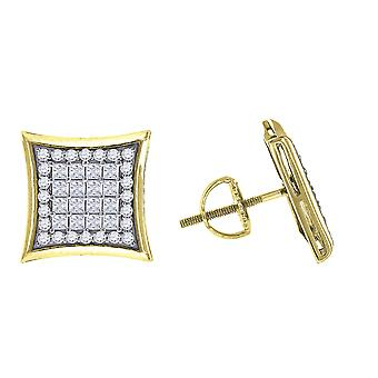 925 Sterling Silver Yellow tone Mens Princess CZ Cubic Zirconia Simulated Diamond Kite Stud Earrings Jewelry Gifts for M