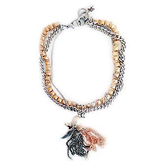Naszyjnik z frędzlami z perłami, kryształami i urokami Swarovskiego. Modny