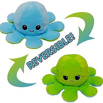 Yeşil mavi flip ahtapot bebek çift taraflı flip bebek ahtapot peluş oyuncak x872