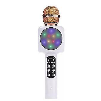 White professional bluetooth wireless microphone handheld speaker karaoke music player az17796