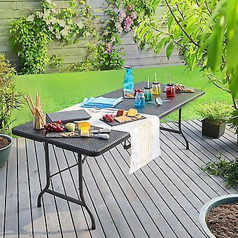 Casaria Klappgarten Tisch schwarz Polyrattan Look 180X75X73Cm