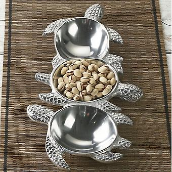 Silver Three Section Turtle Design Serving Tray