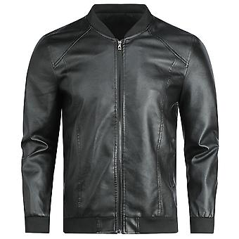 Swotgdoby Men's  Round Neck Short Leather Jacket, Solid Color Motorcycle Jacket