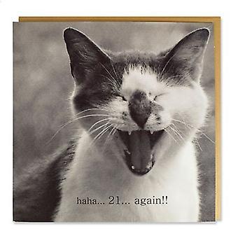 Magnet & Steel Tarjeta Gato Haha... 21 Again (Cats , Training Aids , Anti-Stress)