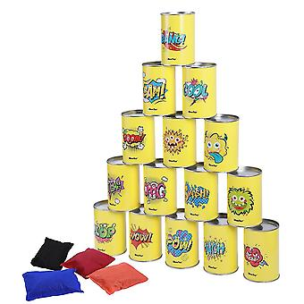 Ibasetoy Bean Bag Can Toss Game Set Party Supplies Tin Can Alley Game For Kids Birthday Parties 15 Tin Cans And 4 Bean Bags Included