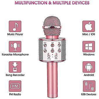 Microphone karaoké sans fil Bluetooth Portable, haut-parleur portable à la maison (Or rose)
