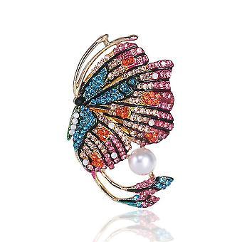 Antiglare Corsage Schmetterling Mädchen Brosche gemalt Emaille Perle Brosche Pin