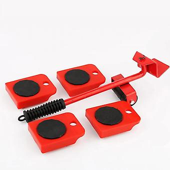 Set Of 5 Pieces Of Movement Of Red Heavy Objects, Mover, Displacement Tool, Plastic Furniture Displacement Mat, Travel Tool