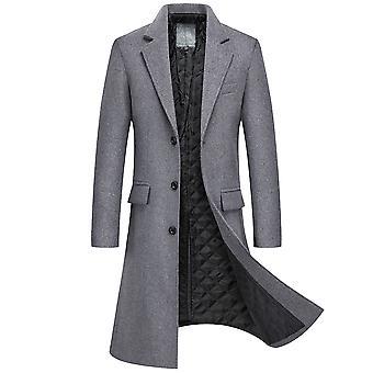 YANGFAN Mezcla de lana de hombre Abrigo de un solo pecho 3 botones abrigo largo